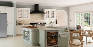 Avonlea brilliant white & sage green kitchen, Tyrone Mid Ulster NI Painted Kitchens